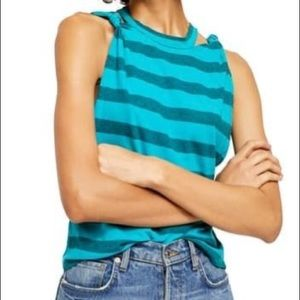 Free People Tops - Free people The knotted Twist Stripe Tank cut out